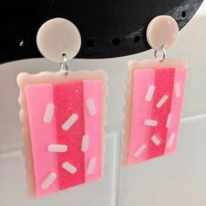Pink poptart acrylic statement earrings